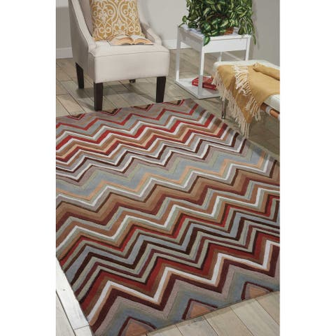 Nourison Contour Brown Beige Multicolor Chevron Zig Zag Hand-tufted Area Rug