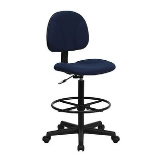 Offex Navy Blue Patterned Fabric Ergonomic Drafting Stool (Adjustable Range 26''-30.5''H or 22.5''-27''H)