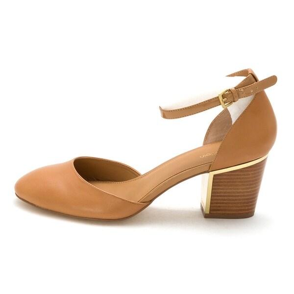 Calvin Klein Womens Calvin Klein Leather Round Toe Ankle Strap Classic Pumps - 10