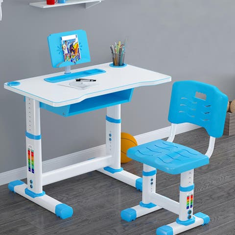Kids Desk And Chair Set Height Adjustable With Storage Drawer For Home Schooling