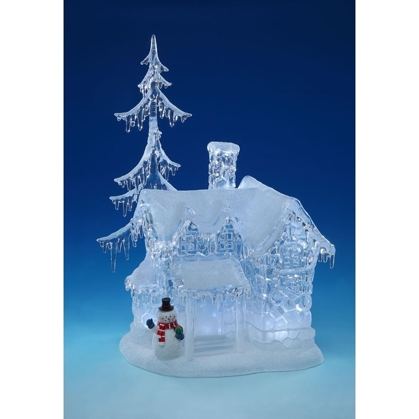 """17.1"""" LED Short Snow Icicle House Palace with Snowman Table Top Decor - WHITE"""
