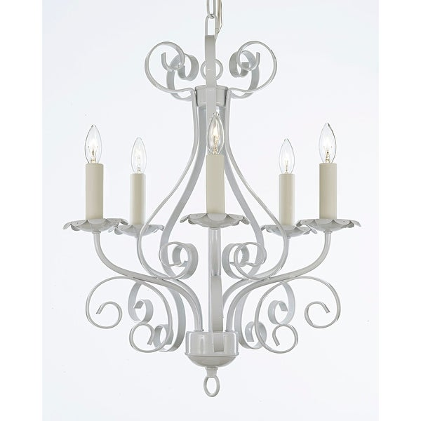White Wrought Iron 5 Light Chandelier Pendant
