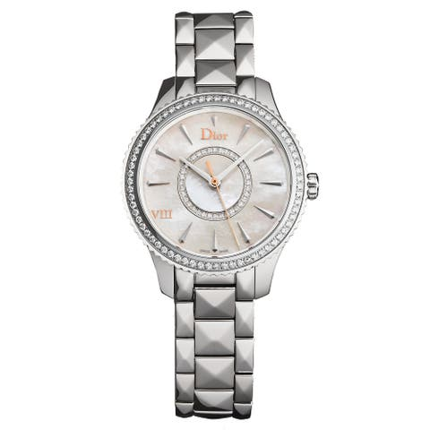 Christian Dior Women's CD152111M001 'Montaigne' Mother of Pearl Diamond Dial Diamond Bezel Swiss Quartz Watch