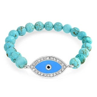 Gemstone Reconstituted Turquoise Blue Evil Eye Stretch Bracelet 8mm Silver Plated