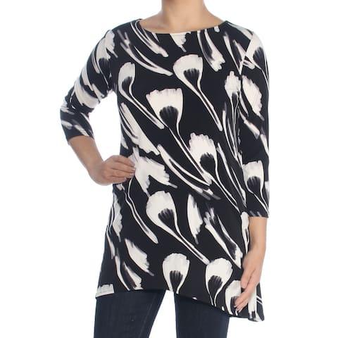ALFANI Womens Black Swing Printed 3/4 Sleeve Jewel Neck Top Size S