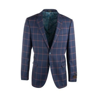 Link to Sangria Navy Blue with Red Windowpane Pure Wool Jacket by Tiglio Luxe Similar Items in Sportcoats & Blazers