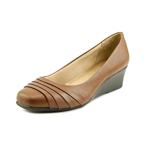 Life Stride Gains Open Toe Leather Wedge Heel