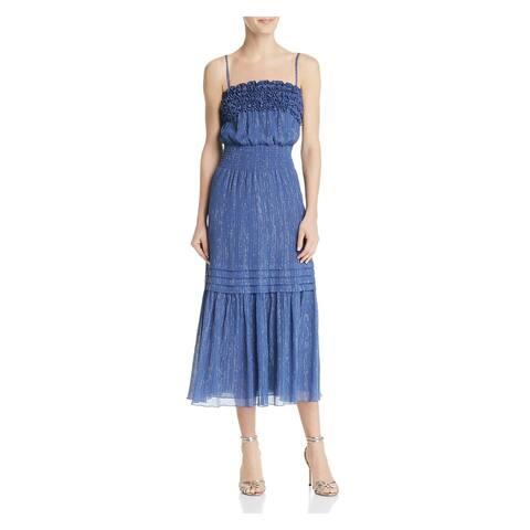 REBECCA TAYLOR Blue Spaghetti Strap Tea-Length Dress XL