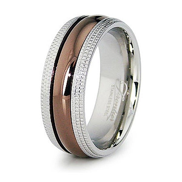 8mm Stainless Steel Espresso Plated Center with Milgrain Edges (Sizes 8-12)