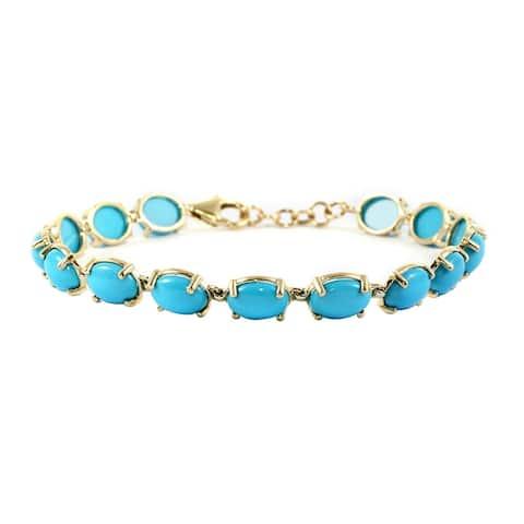 """Yellow Gold Turquoise Station Bracelet Size 7.5"""" ct 14.75 - Bracelet 7.5''"""