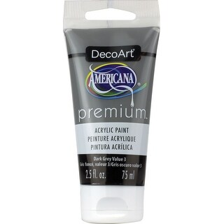 Americana Premium Acrylic Paint Tube 2.5Oz-Dark Grey Value 3