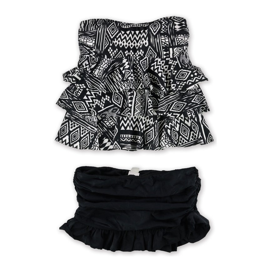 Island Escape Womens Tiered Ruffled Skirtini 2 Piece Tankini black 8