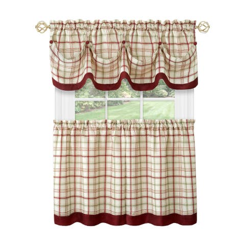 Tattersall Window Curtain Tier Pair and Valance Set