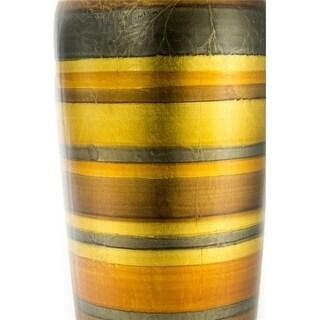 Heather Ann Creations W137415-1702A Stripes 20 in. Ceramic Water Jug Floor Vase - Multi-Color