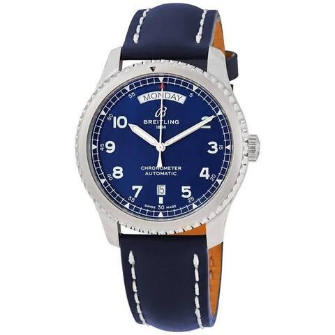 Breitling Men's A45330101C1X3 'Navitimer 8' Blue Leather Watch