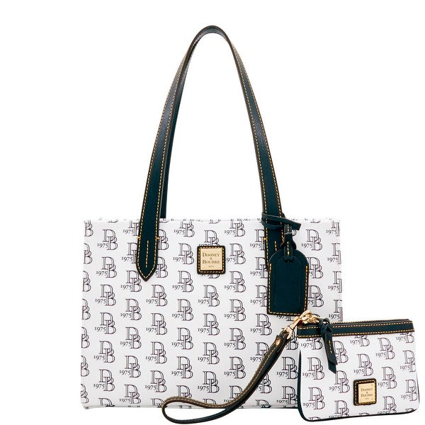 Dooney & Bourke 1975 DB Signature Sm Shopper & Med Wristlet (Introduced by Dooney & Bourke at $228 in Feb 2017) - White Black