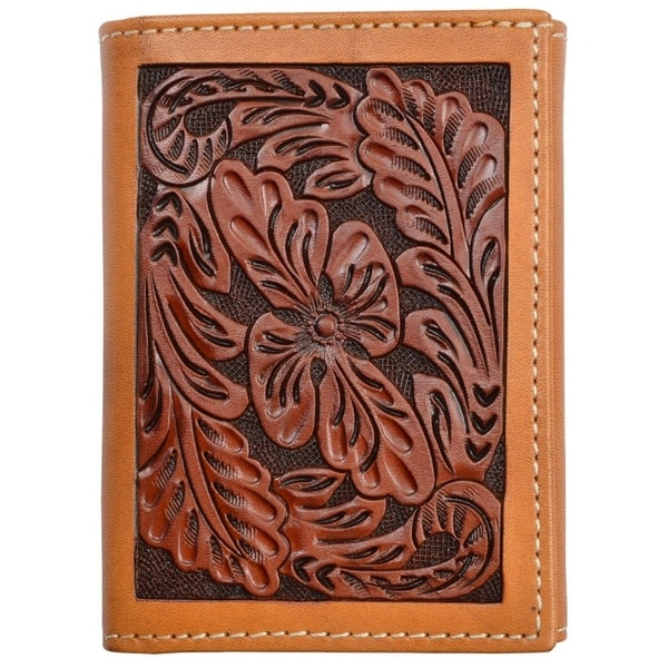 Tony Lama Western Wallet Mens Trifold Leather Floral Tooled Tan - One size