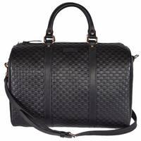 """Gucci Black Leather 449646 Micro GG Guccissima Boston Bag Satchel W/Strap - 13"""" x 9.5"""" x 7"""""""