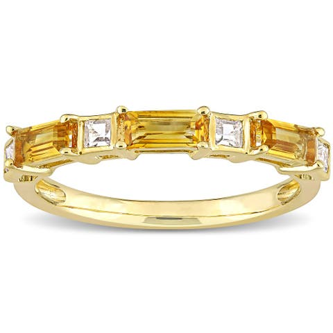 Miadora 10k Yellow Gold Baguette & Square Citrine & White Topaz Stackable Eternity Wedding Band Ring