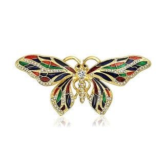 Bling Jewelry Gold Plated Multi Color Enamel Crystal Butterfly Brooch Animal Pin