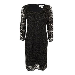 Charter Club Women's 3/4 Sleeve Metallic Lace Sheath Dress - Deep Black