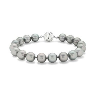 Bling Jewelry 10mm Grey Imitation Pearl Wedding Bracelet Rhodium Plated