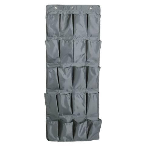 Unique BargainsHome Oxford Cloth Door Hanging Storage Bag Pouch Socks Shoes Organizer Gray