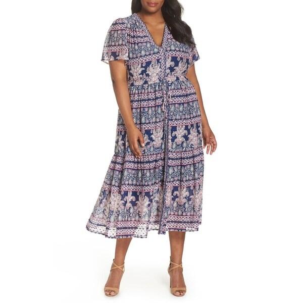 Eliza J Blue Women's Size 14W Plus Floral Paisley Sheath Dress