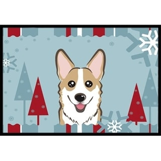 Carolines Treasures BB1749JMAT Winter Holiday Sable Corgi Indoor & Outdoor Mat 24 x 36 in.