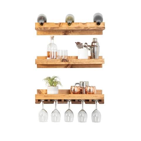Handmade Del Hutson Designs Rustic Luxe Tiered Wine Set - 5 Bottle Count