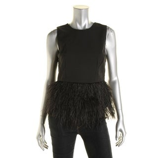 Lucy Paris Womens Feather Trim Sleeveless Casual Top