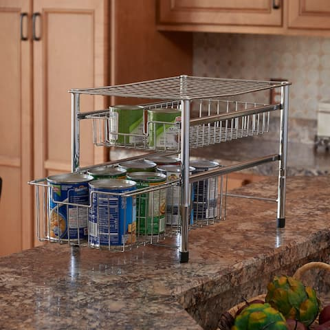 Household Essentials Silver Free Standing Double Pull Out Cabinet Organizer Shelf