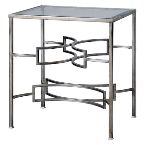 "Uttermost 24635 Eilinora 26"" x 24"" Console Table - Silver Leaf"