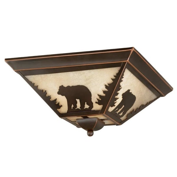 Vaxcel Lighting CC55714 Bozeman 3 Light Flush Mount Indoor Ceiling Fixture with Cream Bear Portrait Glass Shade - 14 Inches Wide