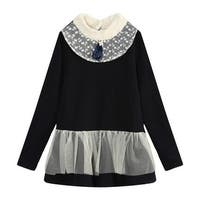 Richie House Little Girls Black Bow Lace Layer Elegant Top 3-5
