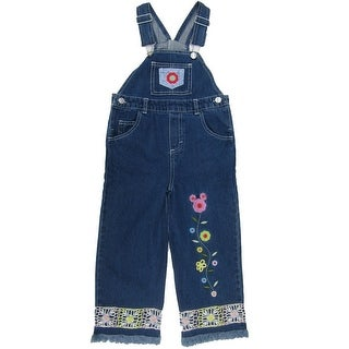 Disney Little Girls Blue Mickey Mouse Embroidered Overalls