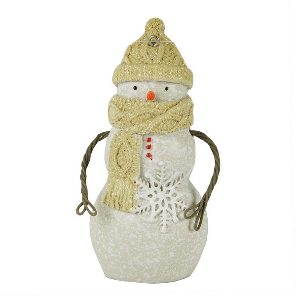 """4"""" Decorative Bundled Up Snowman with Scarf, Hat & Snowflake Christmas Ornament - WHITE"""