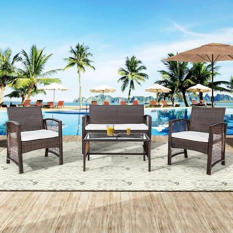 4 Pieces Outdoor Furniture Rattan Chair & Table Patio Set Outdoor Sofa