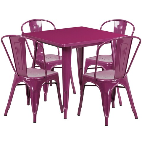 Brimmes 5pcs Square 31.5'' Purple Metal Table w/4 Stack Chairs