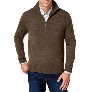 Weatherproof Brown Mens Size Large L Soft-Touch Quarter Zip Sweater