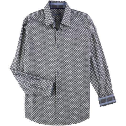Tasso Elba Mens Shield Print Button Up Dress Shirt