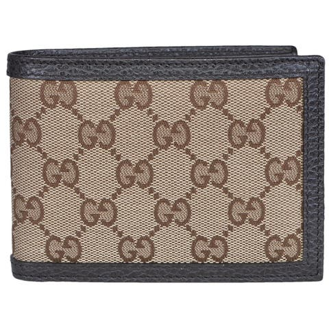 "Gucci 278596 Men's Beige Canvas Brown Leather GG Guccissima Bifold Wallet - 5"" x 3.75"""