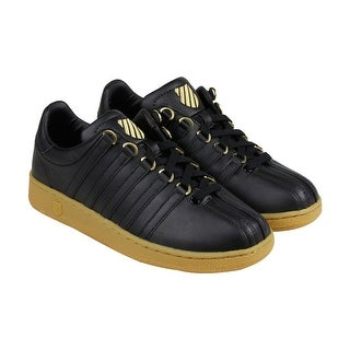 K-Swiss Classic VN Mens Black Leather Lace Up Sneakers Shoes