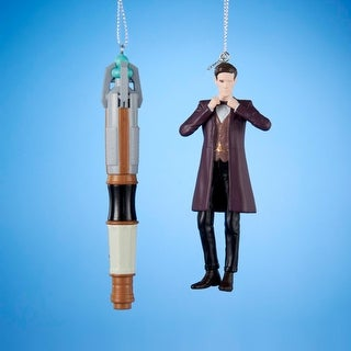 """Pack of 12 Doctor Who Sonic Screwdriver and 11th Doctor Christmas Ornaments 4.5"""""""