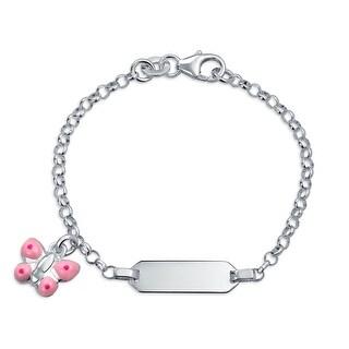 Bling Jewelry 925 Silver Pink Enamel Butterfly Charm Girls ID Tag Bracelet