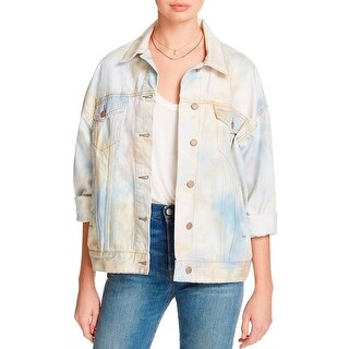 Free People Womens Denim Jacket Tie-Dyed Contrast Stitching