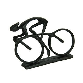 Black Metal Art Cyclist in Motion Abstract Statue