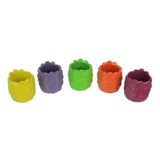 Set of 5 Multi Color Ceramic Pottery Vases Small Garden Flower Pot Art Decor - 3.25 X 3.25 X 3.25 inches