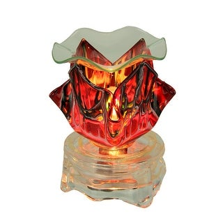 Art Deco Ruby Red Glass Oil Warmer Accent Light - 4.5 X 4 X 4 inches