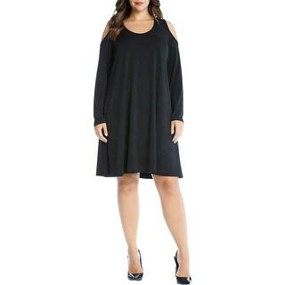 Karen Kane Womens Casual Dress Cold-Shoulder Scoop Neck